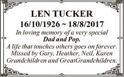 LEN TUCKER 16/10/1926  18/8/2017 In loving memory of a very special Dad and Pop. A life that touches...