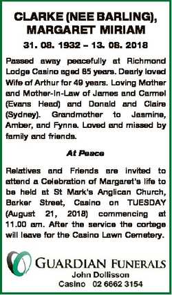 CLARKE (NEE BARLING), MARGARET MIRIAM 31. 08. 1932 - 13. 08. 2018 Passed away peacefully at Richmond...