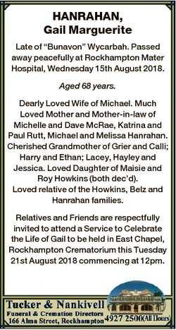 "HANRAHAN, Gail Marguerite Late of ""Bunavon"" Wycarbah. Passed away peacefully at Rockhampto..."