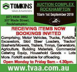 AUCTION COMPLEX ROCKHAMPTON 10am 1st September 2018 RECEIVING ITEMS NOW BOOKINGS INVITED 6861566aa (...