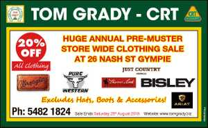 TOM GRADY - CRT 20% OFF All Clothing HUGE ANNUAL PRE-MUSTER STORE WIDE CLOTHING SALE AT 26 NASH ST...