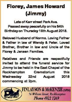 Florey, James Howard (Jimmy) Late of Kerr street Park Ave. Passed away peacefully on his 84th Birthd...