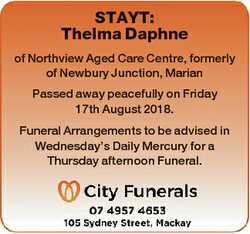 STAYT: Thelma Daphne of Northview Aged Care Centre, formerly of Newbury Junction, Marian Passed away...