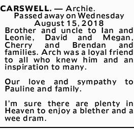 CARSWELL.  Archie.