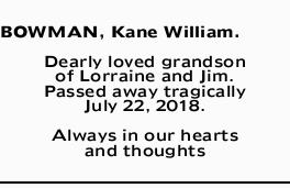 BOWMAN, Kane William.