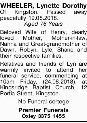 Browsing Funeral Notices   Melbourne Classifieds   Herald Sun
