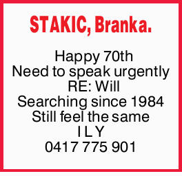 STAKIC, Branka.