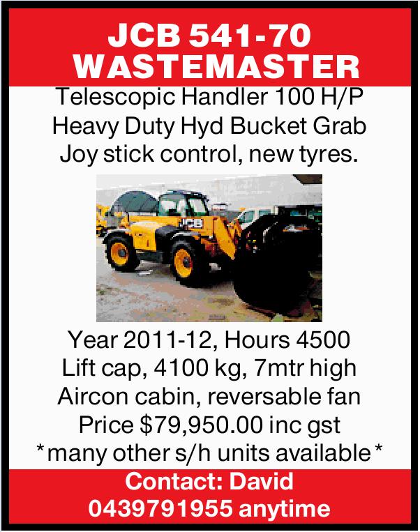 JCB 541-70   WASTEMASTER   Telescopic Handler 100 H/P Heavy Duty Hyd Bucket Grab Joy stic...