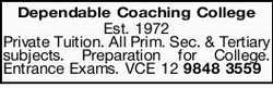 Dependable Coaching College   Private Tuition.   All Prim. Sec. & Tertiary subjects....