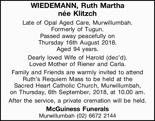 WIEDEMANN, Ruth Martha