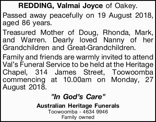 Browsing Funeral Notices | NSW & QLD Classifieds | Cairns Post