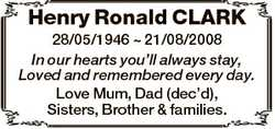 Henry Ronald CLARK 28/05/1946  21/08/2008 In our hearts you'll always stay, Loved and remembered...