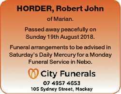 HORDER, Robert John of Marian. Passed away peacefully on Sunday 19th August 2018. Funeral arrangemen...