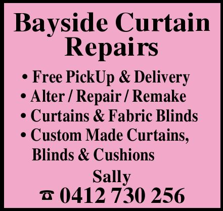 Bayside Curtain Repairs Free PickUp & Delivery Alter / Repair / Remake Curtains & Fabric...