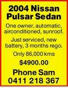 2004 Nissan Pulsar Sedan