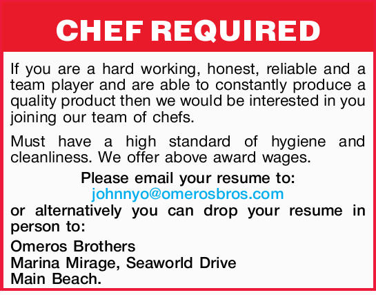 CHEF REQUIRED If you are a hard working, honest, reliable and a team player and are able to const...