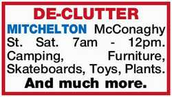 DE-CLUTTER Sat. 7am - 12pm. Camping, Furniture, Skateboards, Toys, Plants. And much more. ...