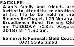 FACKLER. _ Alan's family and friends are invited to attend the celebration of his life to be...