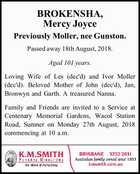 BROKENSHA, Mercy Joyce Previously Moller, nee Gunston.