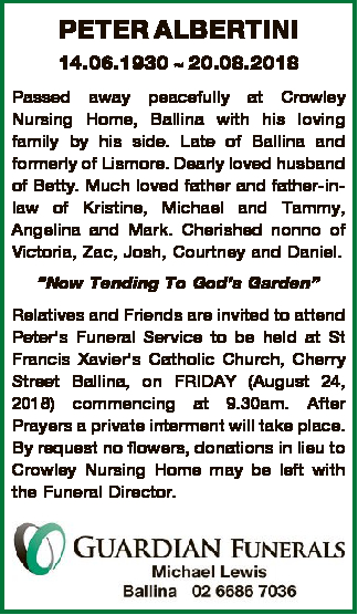 Browsing Funeral Notices | Sunshine Coast Classifieds