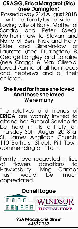 Browsing Funeral Notices | Australia Classifieds | Cairns Post