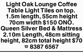 Light Oak Lounge Coffee Table Light Tiles on top. 1.5m length, 55cm height 70cm width $150 ONO.