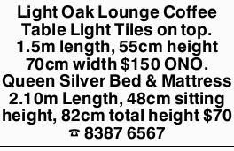 Light Oak Lounge Coffee Table Light Tiles on top. 1.5m length, 55cm height 70cm width $150 ONO. ...