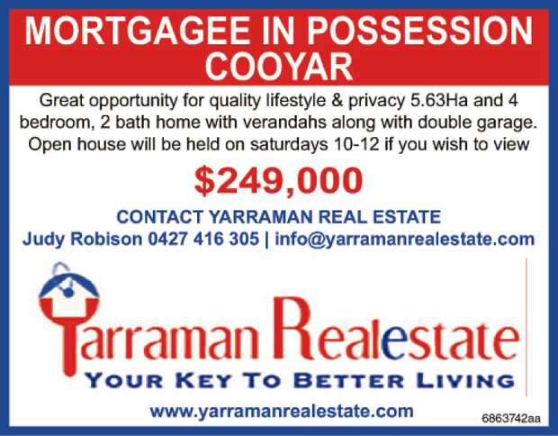 MORTGAGEE IN POSSESSION COOYAR   GREAT OPPORTUNITY FOR QUALITY LIFESTYLE & PRIVACY 5.63HA...