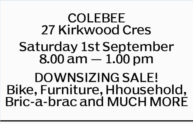 COLEBEE 27 Kirkwood Cres Saturday 1st September 8.00 am _ 1.00 pm DOWNSIZING SALE! Bike, Furnitur...
