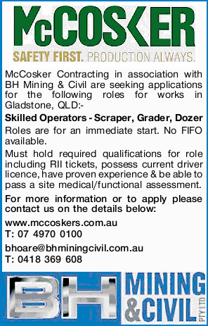 McCosker Contracting in association with BH Mining & Civil are seeking applications for the f...
