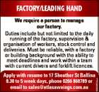 Factory/Leading Hand