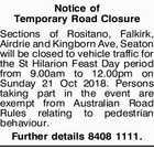 Notice of Temporary Road Closure