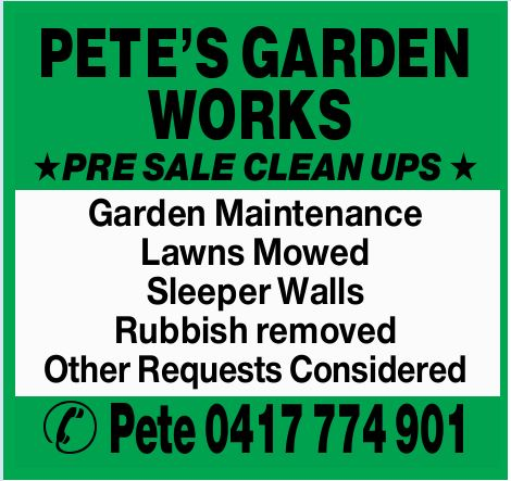 * PRE SALE CLEAN UPS *    Garden Maintenance  Lawns Mowed  Sleeper Walls  R...
