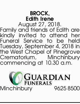 BROCK, Edith Irene | Funeral Notices | Sydney | Queensland Times