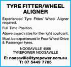 TYRE FITTER/WHEEL ALIGNER