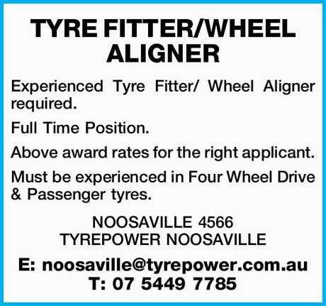 <p> <strong>TYRE FITTER/WHEEL ALIGNER </strong> </p> <p> Experienced Tyre Fitter/ Wheel Aligner...</p>