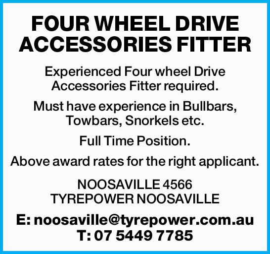 FOUR WHEEL DRIVE ACCESSORIES FITTER