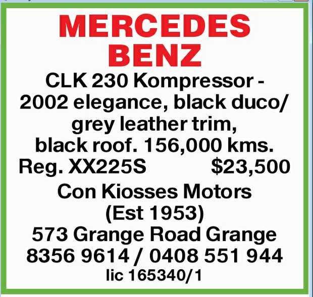 CLK 230 Kompressor - 2002 elegance,    black duco/grey leather trim, black roof. 156,000 kms....