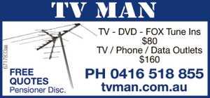 <p> TV MAN<br /> TV - DVD - FOX Tune Ins<br /> $80<br /> TV / Phone / Data Outlets</p>