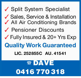 Split System Specialist Sales, Service & Installation All Air Conditioning Brands Pensioner D...