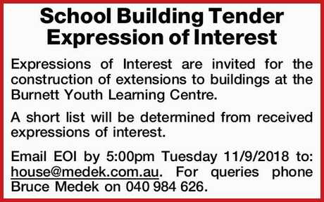 <p> Expressions of Interest are invited for the construction of extensions to buildings at the...