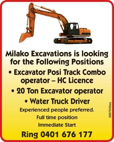 <p> Milako Excavations is looking<br /> for the Following Positions<br /> • Excavator Posi...</p>