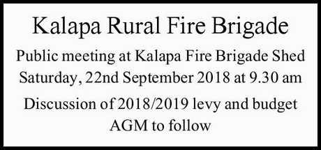 <p> meeting at Kalapa Fire Brigade Shed Saturday, 22nd September 2018 at 9.30...
