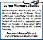 Lorna Margaret Bailey