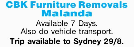 CBK Furniture Removals - Malanda