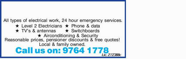 All types of electrical work, 24 hour emergency services. Level 2 Electricians TV's & ant...