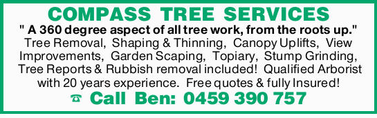 "COMPASS TREE SERVICES""A 360 degree aspect of all tree work, from the roots up."" Tree Re..."