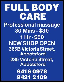 Professional massage   30 Mins - $30   1 Hr - $50   NEW SHOP OPEN   365B Victoria...