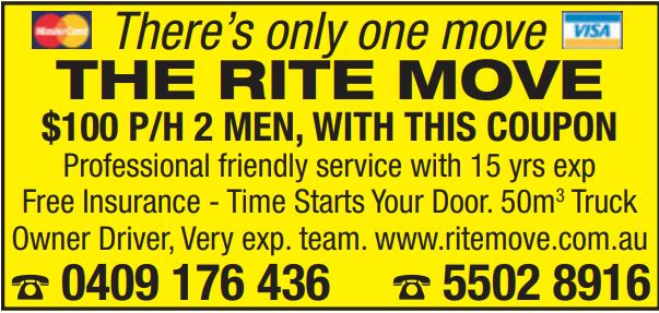 There's only one move THE RITE MOVE   100 P/H 2 MEN, WITH THIS COUPON   Professiona...