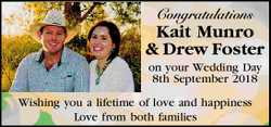 Congratulations Kait Munro & Drew Foster   on your Wedding Day 8th September 2018   W...